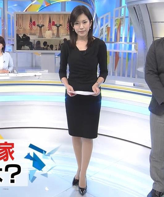 西野志海アナ タイトなセクシーワンピースキャプ・エロ画像
