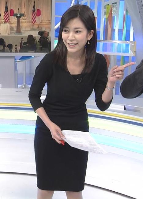 西野志海アナ タイトなセクシーワンピースキャプ・エロ画像3