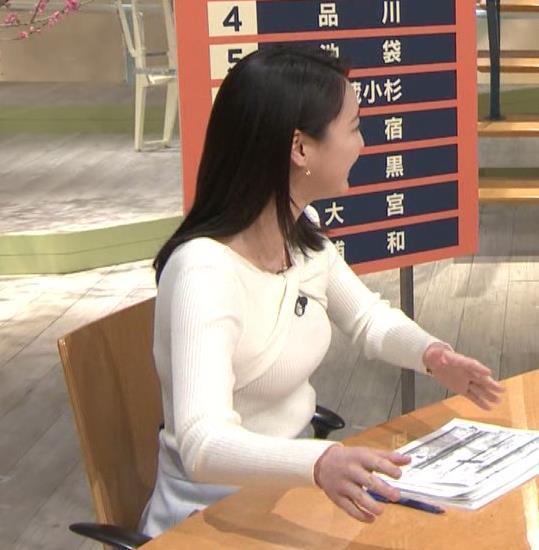 小川彩佳アナ ニット乳がエロ過ぎる回(報道ステーション)キャプ・エロ画像9