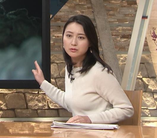 小川彩佳アナ 横を向いて胸を張っているところキャプ・エロ画像4