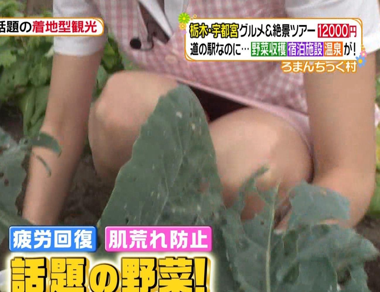 大石絵理 スカートでしゃがんで中が見えるキャプ・エロ画像5