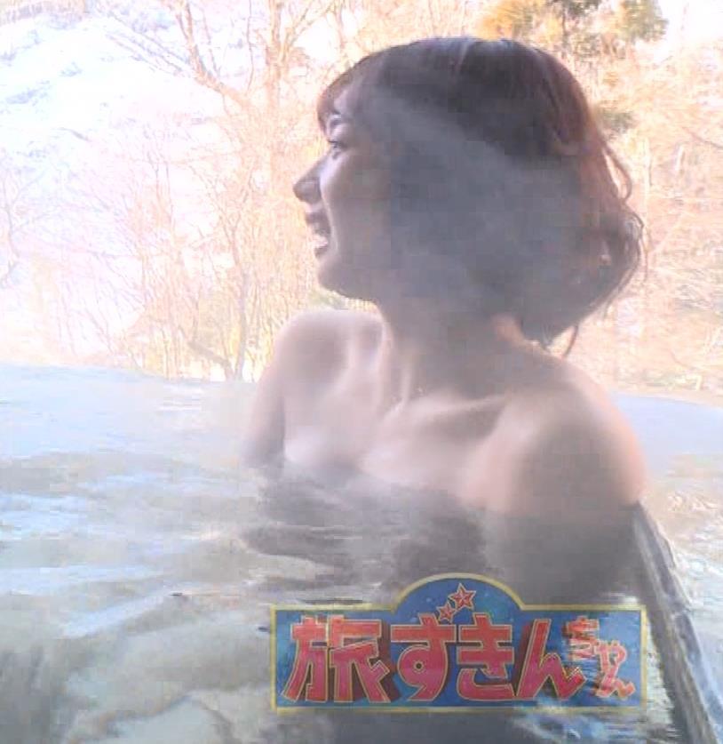 岡田紗佳 温泉入浴でおっぱいがタオルからこぼれているキャプ・エロ画像14
