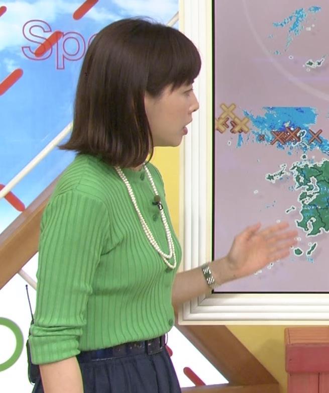 美人気象予報士のニット横乳 美人気象予報士のニット横乳キャプ・エロ画像2