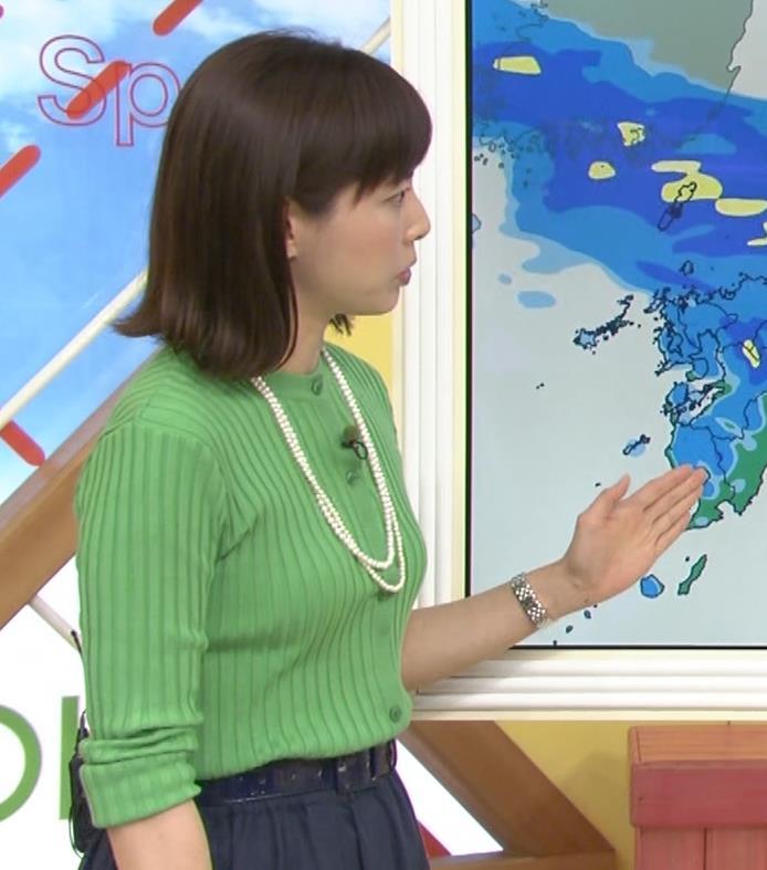 美人気象予報士のニット横乳 美人気象予報士のニット横乳キャプ・エロ画像5
