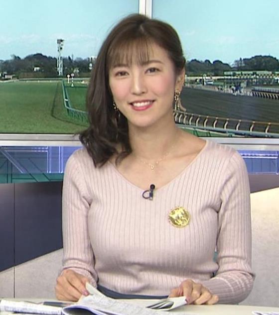 小澤陽子アナ ニットデカ乳。ブラジャー透けてる?キャプ・エロ画像