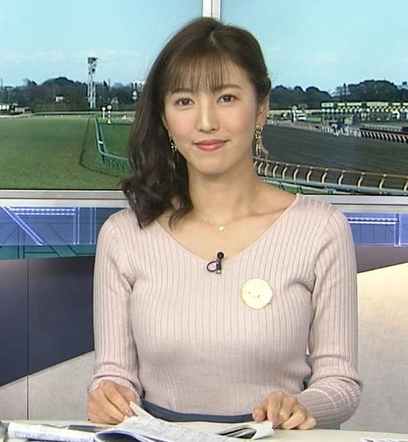 小澤陽子アナ ニットデカ乳。ブラジャー透けてる?キャプ・エロ画像2