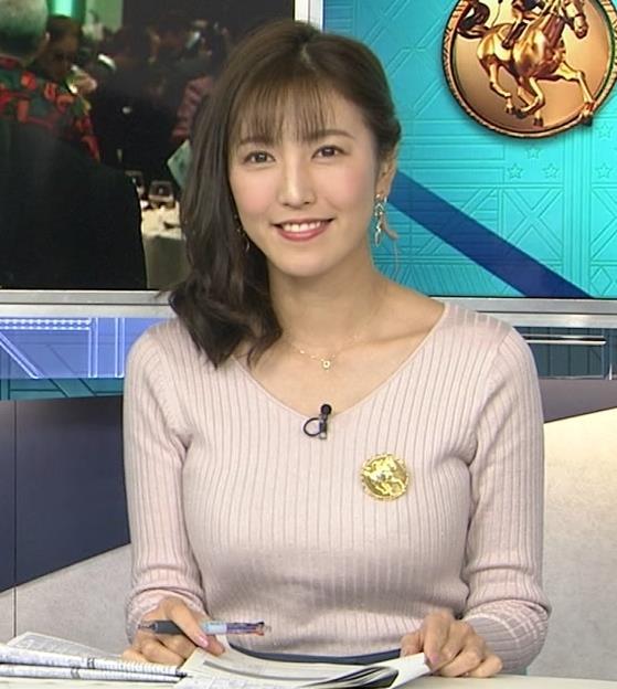 小澤陽子アナ ニットデカ乳。ブラジャー透けてる?キャプ・エロ画像3