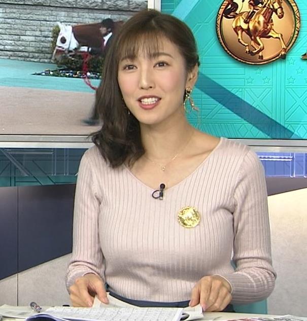 小澤陽子アナ ニットデカ乳。ブラジャー透けてる?キャプ・エロ画像4