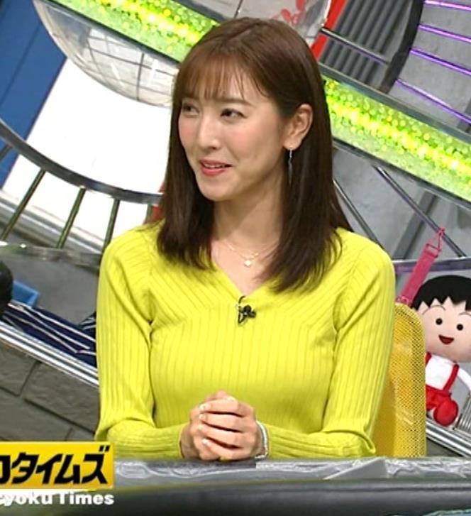 小澤陽子アナ 巨乳ニット&ミニスカ太もも。フェロモン系女子アナキャプ・エロ画像2