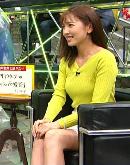 小澤陽子 巨乳ニット&ミニスカ太もも。フェロモン系女子アナキャプ画像(エロ・アイコラ画像)