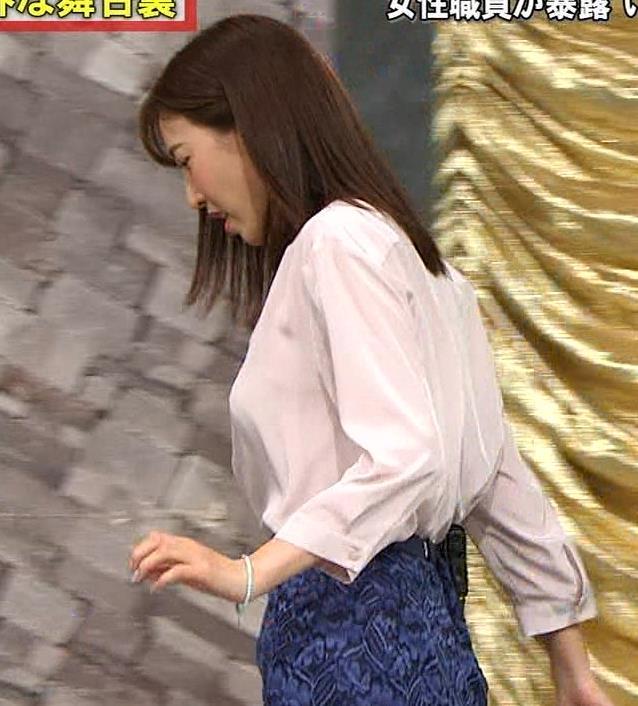 小澤陽子アナ クッキリ!シャツの巨乳横乳キャプ・エロ画像