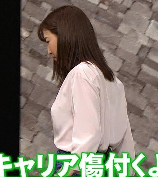 小澤陽子アナ クッキリ!シャツの巨乳横乳キャプ・エロ画像2