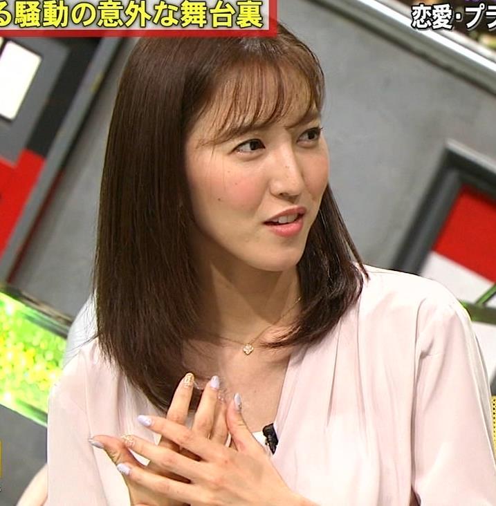 小澤陽子アナ クッキリ!シャツの巨乳横乳キャプ・エロ画像5