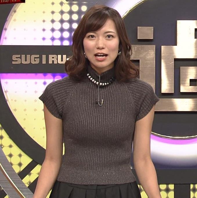 斎藤真美アナ エロかわいいピチピチのニットおっぱいキャプ・エロ画像2