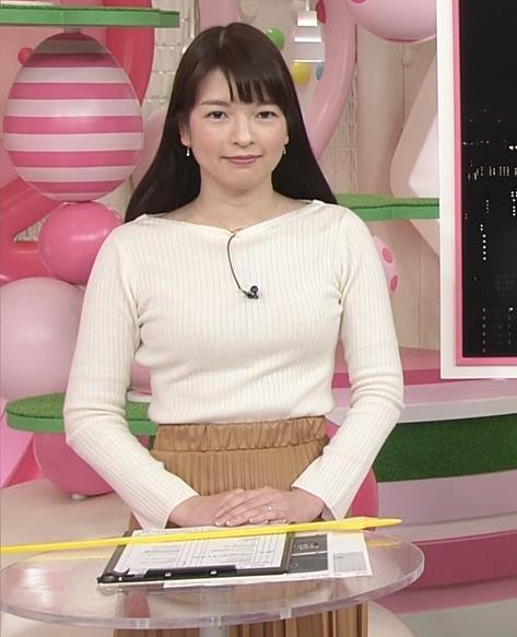 榊菜美 ピチピチのニットおっぱい♡美人気象予報士キャプ・エロ画像2