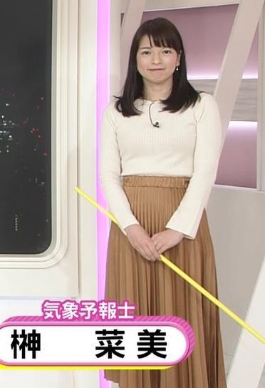 榊菜美 ピチピチのニットおっぱい♡美人気象予報士キャプ・エロ画像8