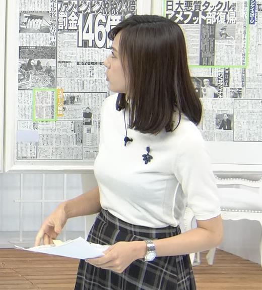 アナ 真っ白ニットのおっぱいキャプ・エロ画像
