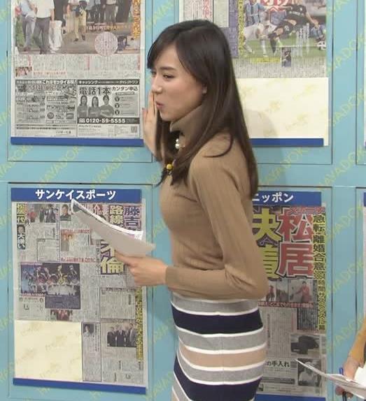 笹川友里アナ 美人・巨乳・女子アナ・人妻のニットおっぱいキャプ・エロ画像7