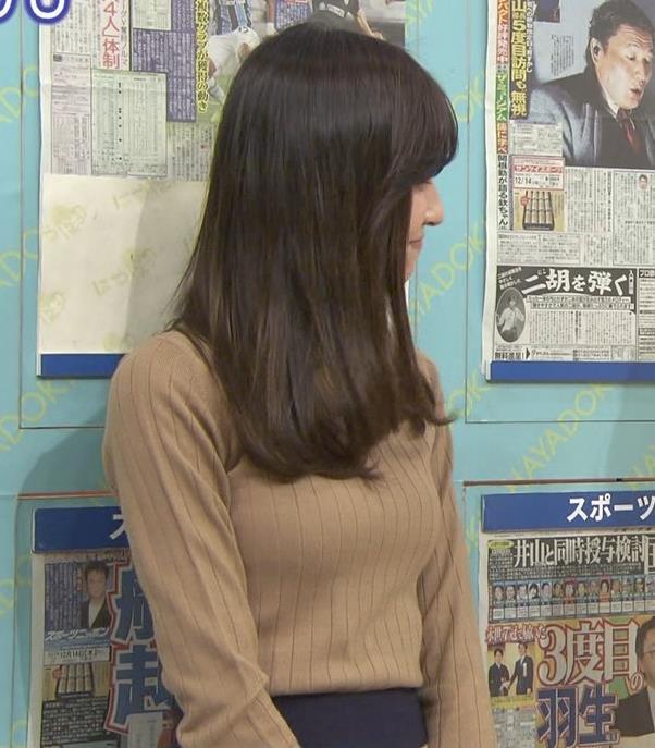 笹川友里アナ 美人・巨乳・女子アナ・人妻のニットおっぱいキャプ・エロ画像8