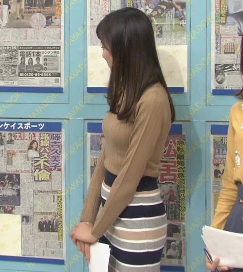 笹川友里アナ 美人・巨乳・女子アナ・人妻のニットおっぱいキャプ・エロ画像9