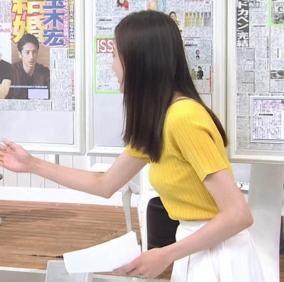 笹川友里アナ エロ過ぎなニット横乳キャプ・エロ画像