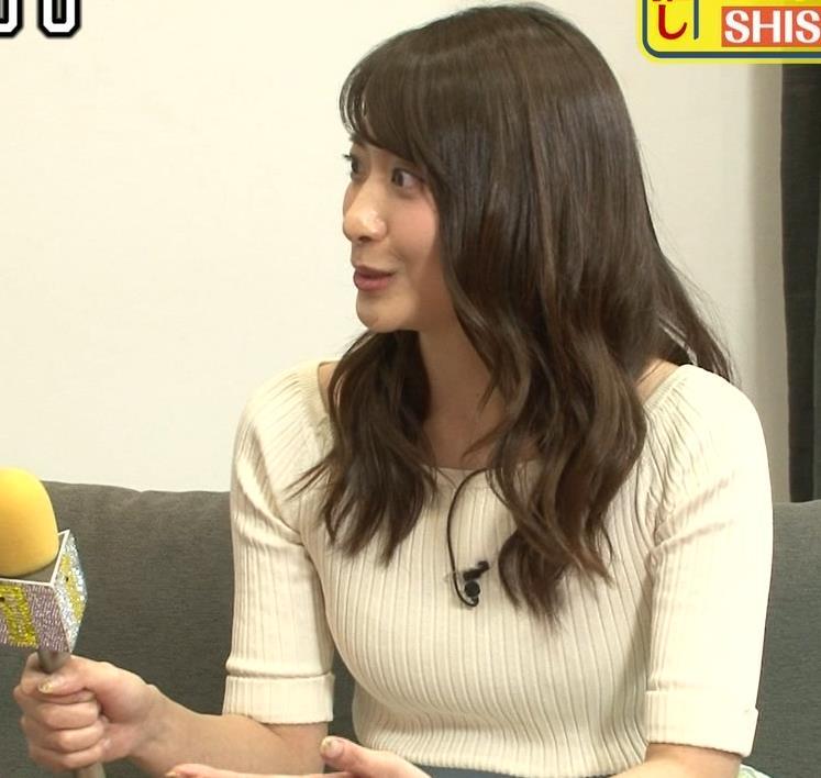 笹崎里菜アナ ニットおっぱいがデカいキャプ・エロ画像
