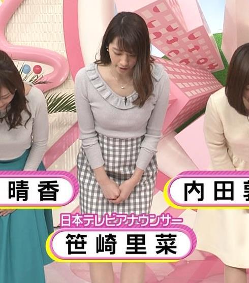 笹崎里菜アナ ニット乳&ミニスカ美脚キャプ・エロ画像7