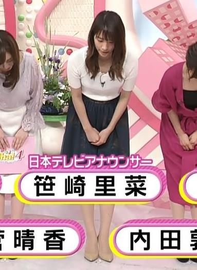 笹崎里菜アナ 白いニットのおっぱい!キャプ・エロ画像3