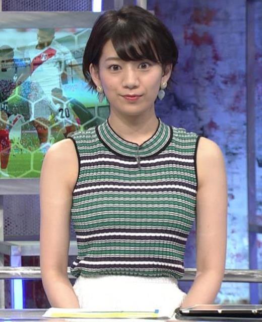 佐藤美希 体のラインが出る柄のノースリーブキャプ画像(エロ・アイコラ画像)