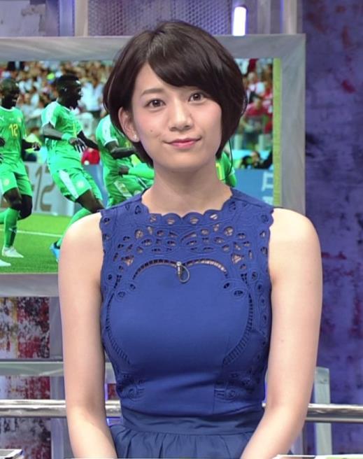 佐藤美希 ワールドカップ日本戦中継のワンピースがエロ過ぎキャプ・エロ画像5