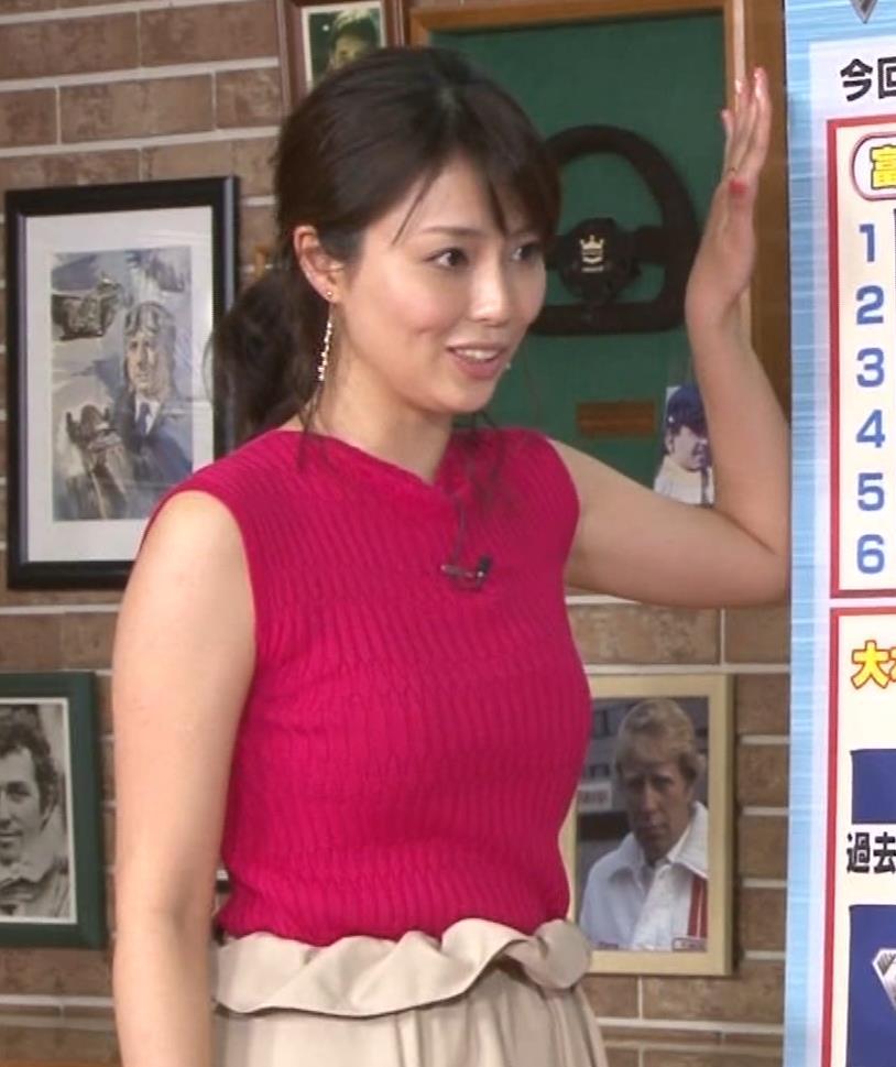 渋谷飛鳥 ノースリブニットのデカ乳キャプ・エロ画像4