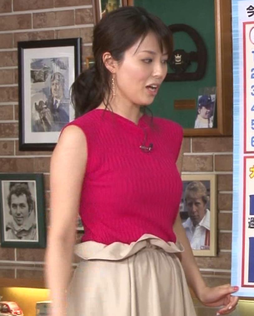 渋谷飛鳥 ノースリブニットのデカ乳キャプ・エロ画像8