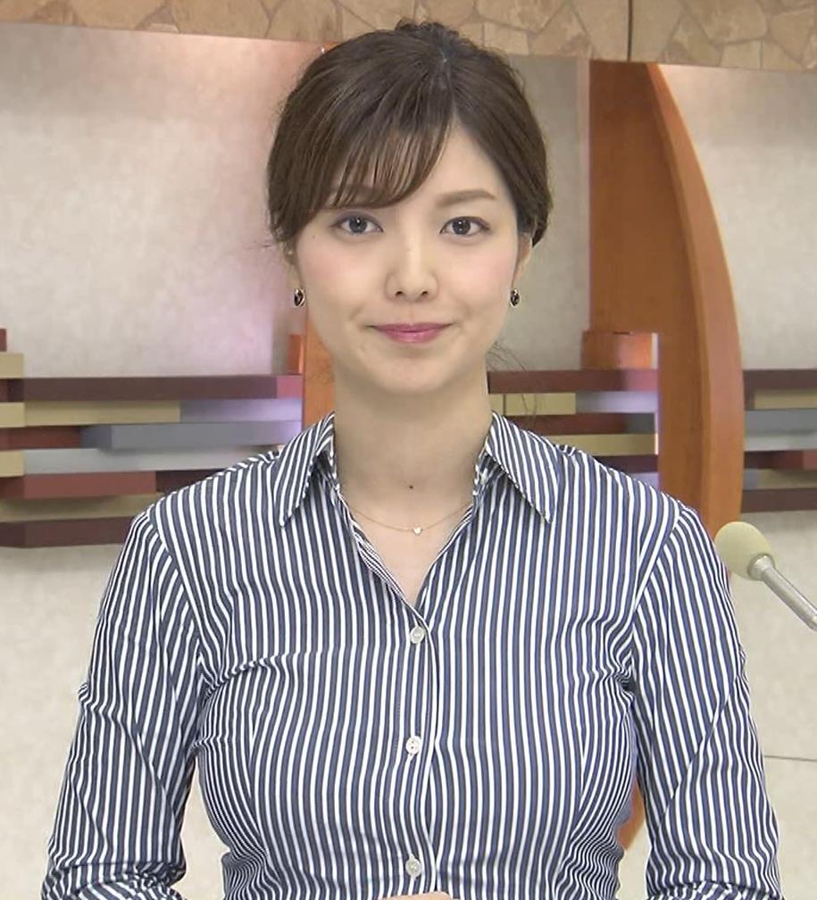 四位知加子アナ 縦じまシャツでパツパツおっぱいがエロ過ぎのローカル美人アナキャプ・エロ画像3