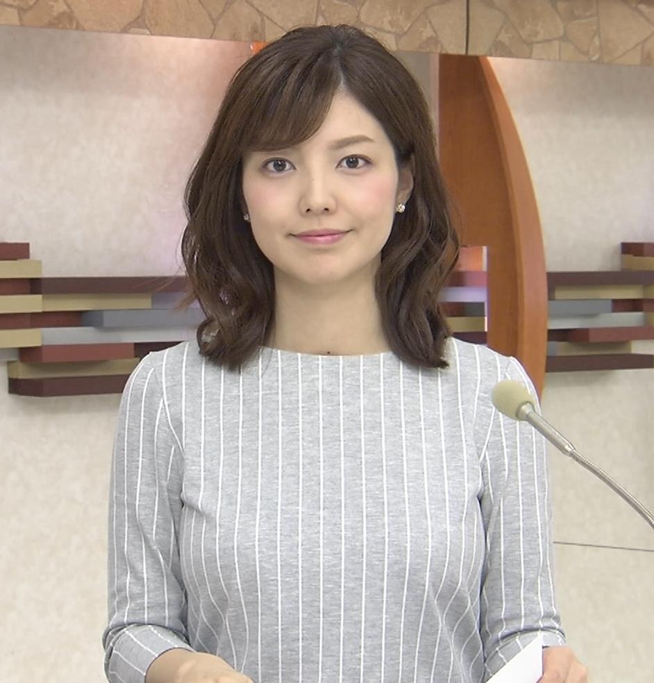 四位知加子アナ 縦じまシャツでパツパツおっぱいがエロ過ぎのローカル美人アナキャプ・エロ画像8