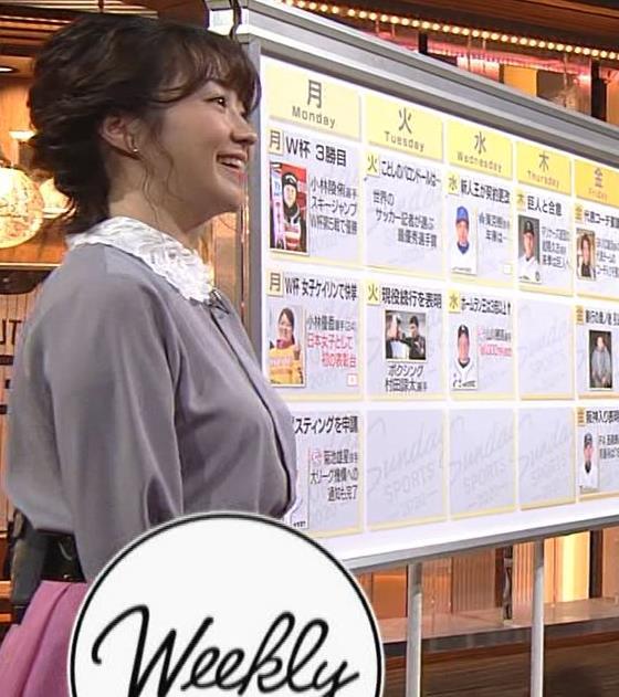 副島萌生アナ ゆったりめな服でも胸のデカさがわかるキャプ・エロ画像5