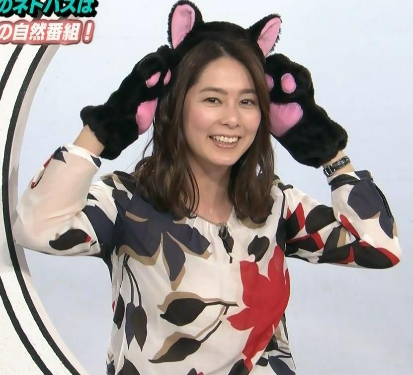 杉浦友紀アナ 35歳で猫耳つけてるキャプ・エロ画像2