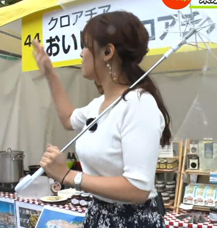 鷲見玲奈アナ エロいニット胸元キャプ・エロ画像12