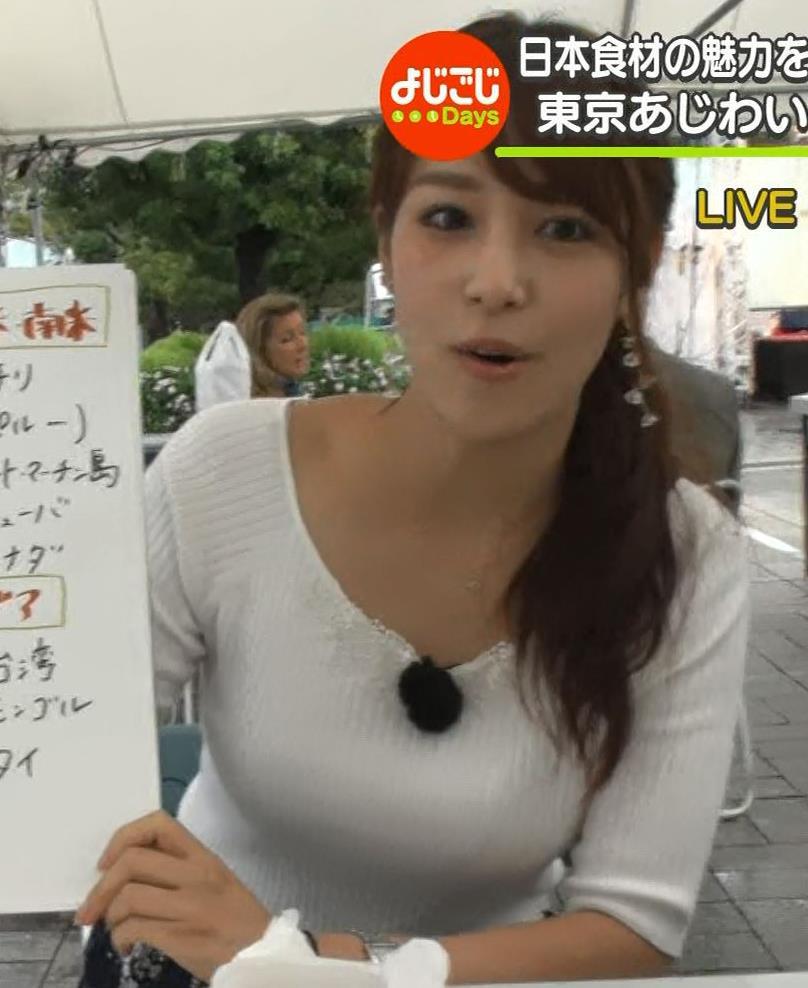 鷲見玲奈アナ エロいニット胸元キャプ・エロ画像3