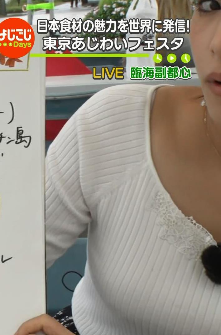 鷲見玲奈アナ エロいニット胸元キャプ・エロ画像4