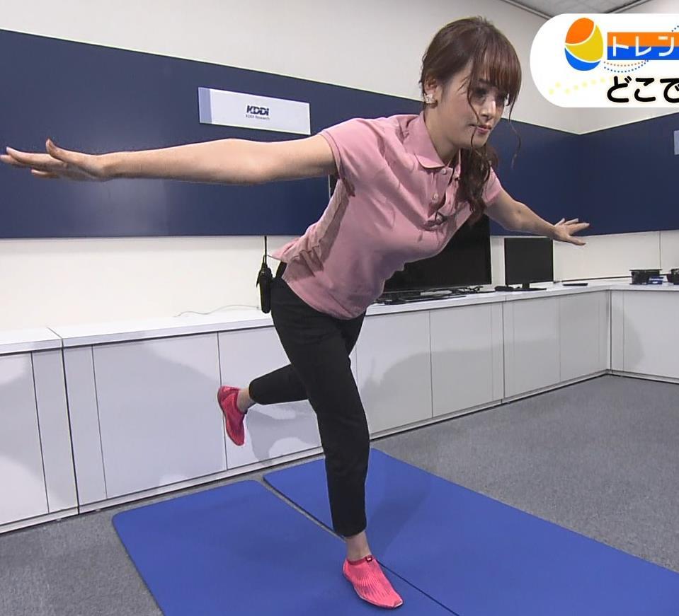 鷲見玲奈アナ 巨乳×ポロシャツ、すげぇ横乳キャプ・エロ画像7