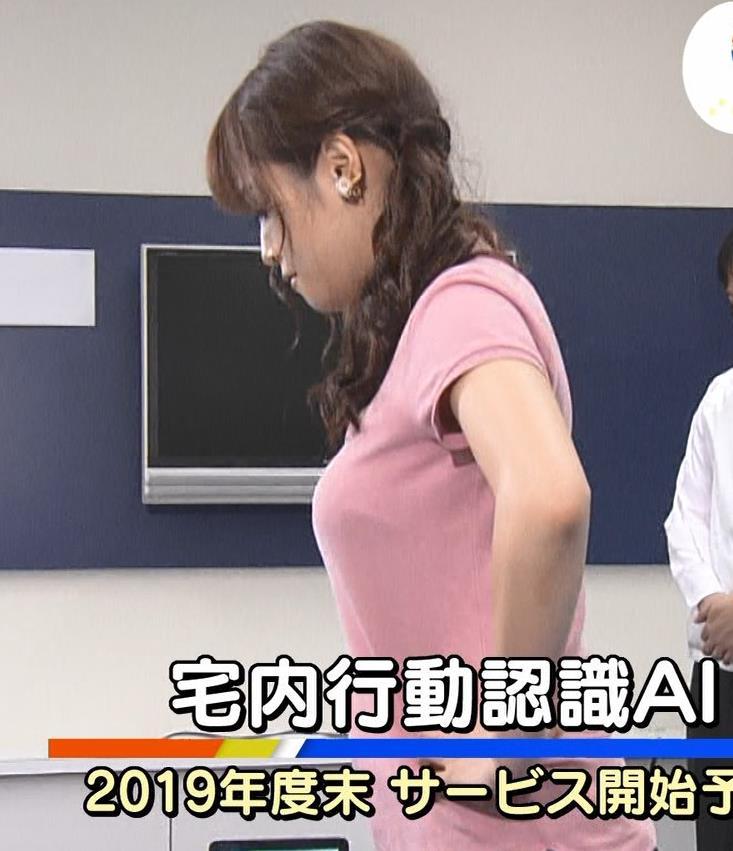 鷲見玲奈アナ 巨乳×ポロシャツ、すげぇ横乳キャプ・エロ画像8