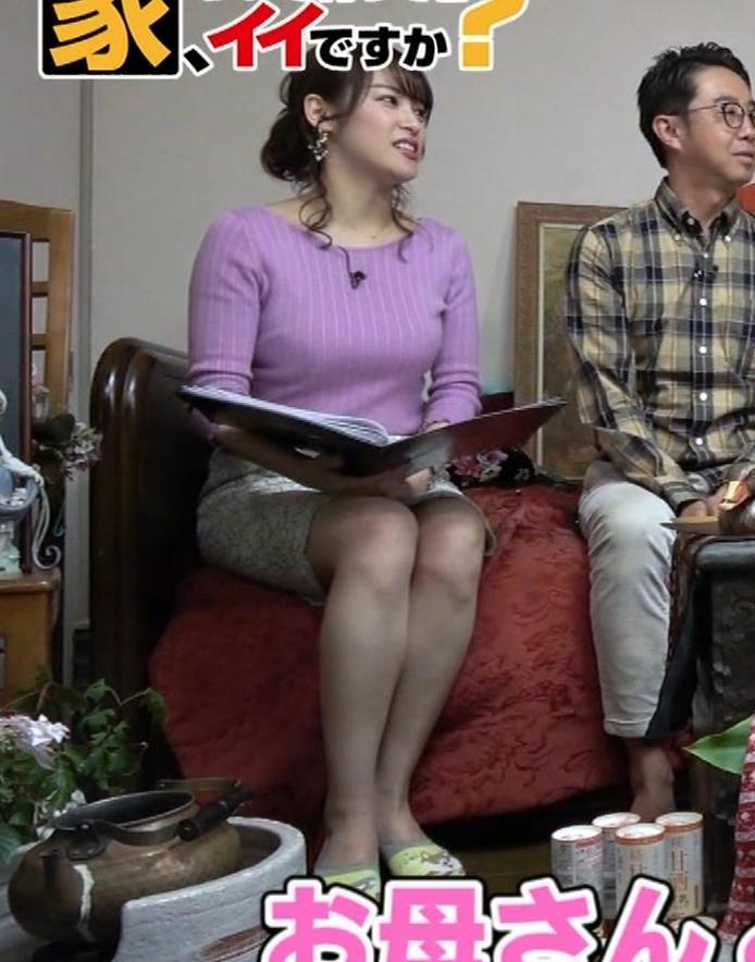 鷲見玲奈アナ スカートがめくれて太ももが見えた!(GIFあり)キャプ・エロ画像4