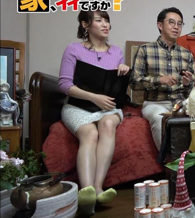 鷲見玲奈アナ スカートがめくれて太ももが見えた!(GIFあり)キャプ・エロ画像5
