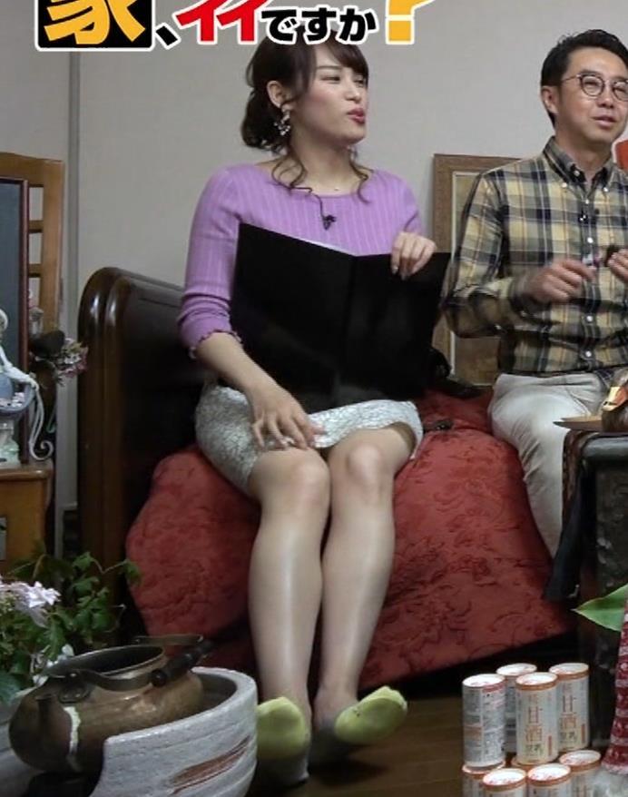鷲見玲奈アナ スカートがめくれて太ももが見えた!(GIFあり)キャプ・エロ画像6