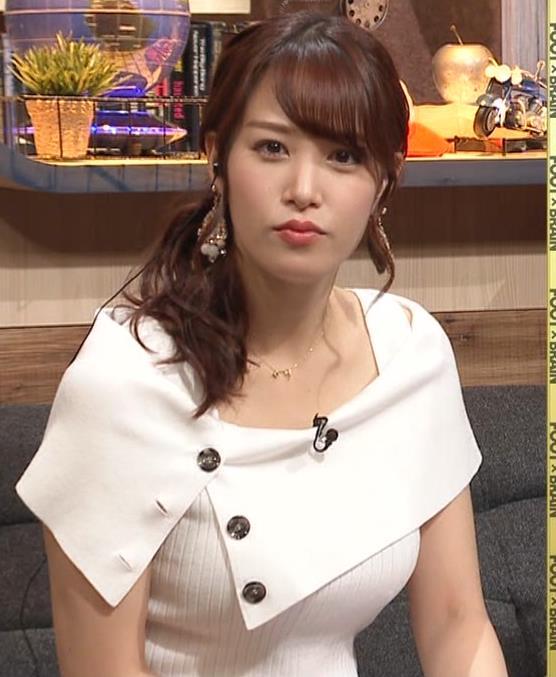 鷲見玲奈アナ ちょっと隠す巨乳のエロさキャプ・エロ画像3
