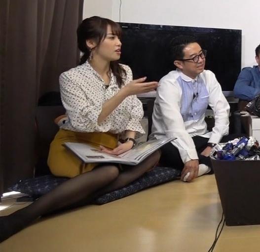 鷲見玲奈アナ エロい黒ストッキングキャプ・エロ画像