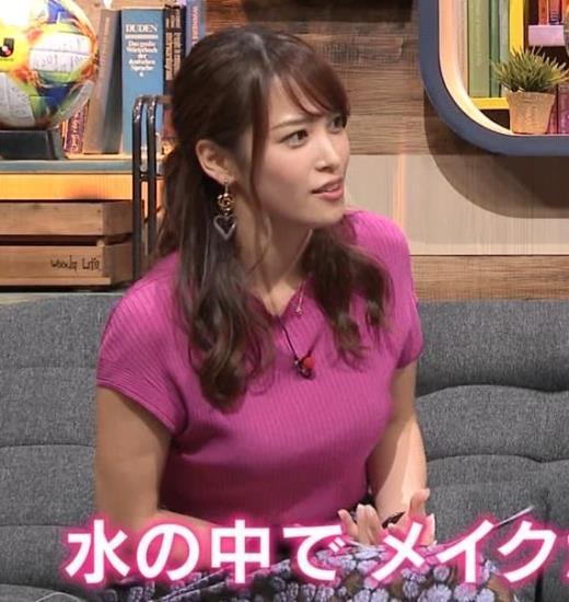鷲見玲奈アナ 巨乳ニットキャプ画像(エロ・アイコラ画像)