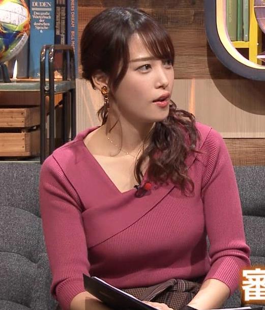 鷲見玲奈アナ 安定のニットおっぱいキャプ・エロ画像7