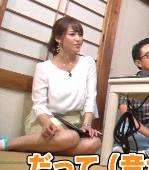 鷲見玲奈 女の子座りをローアングルで撮られるキャプ画像(エロ・アイコラ画像)