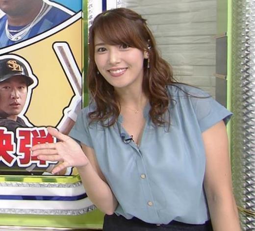 鷲見玲奈アナ 胸元緩いシャツキャプ画像(エロ・アイコラ画像)